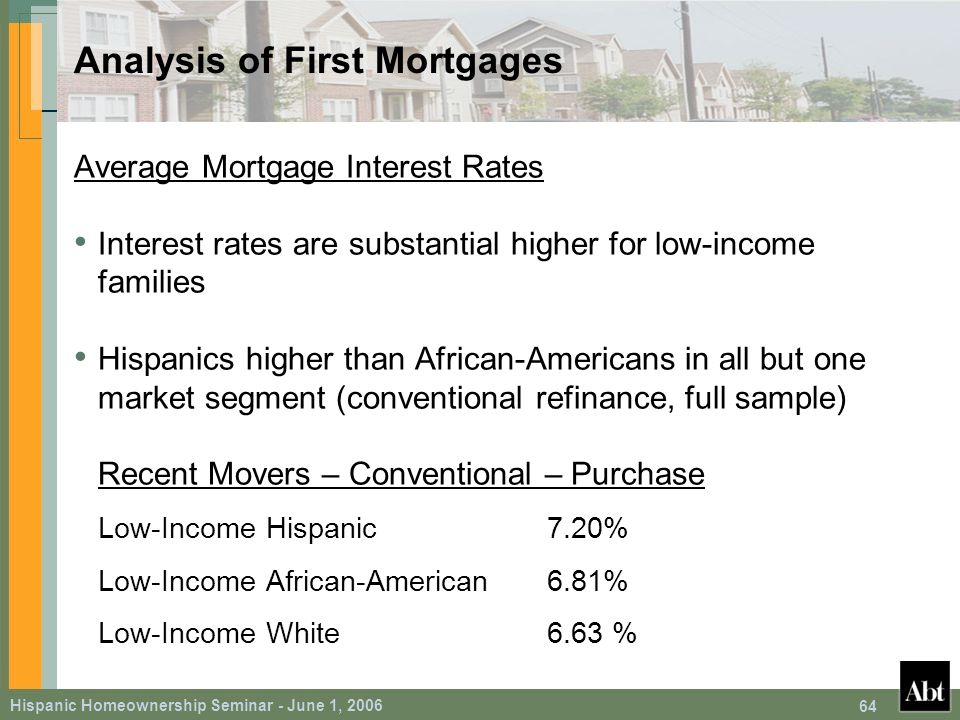 Hispanic Homeownership Seminar - June 1, 2006 64 Analysis of First Mortgages Average Mortgage Interest Rates Interest rates are substantial higher for low-income families Hispanics higher than African-Americans in all but one market segment (conventional refinance, full sample) Recent Movers – Conventional – Purchase Low-Income Hispanic7.20% Low-Income African-American6.81% Low-Income White6.63 %