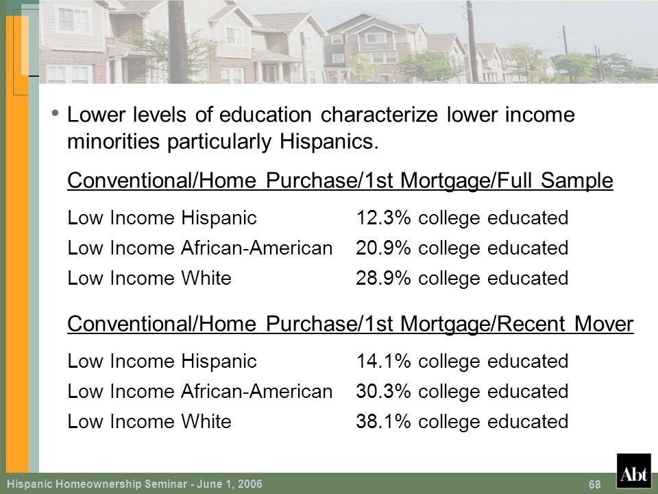 Hispanic Homeownership Seminar - June 1, 2006 68 Lower levels of education characterize lower income minorities particularly Hispanics.