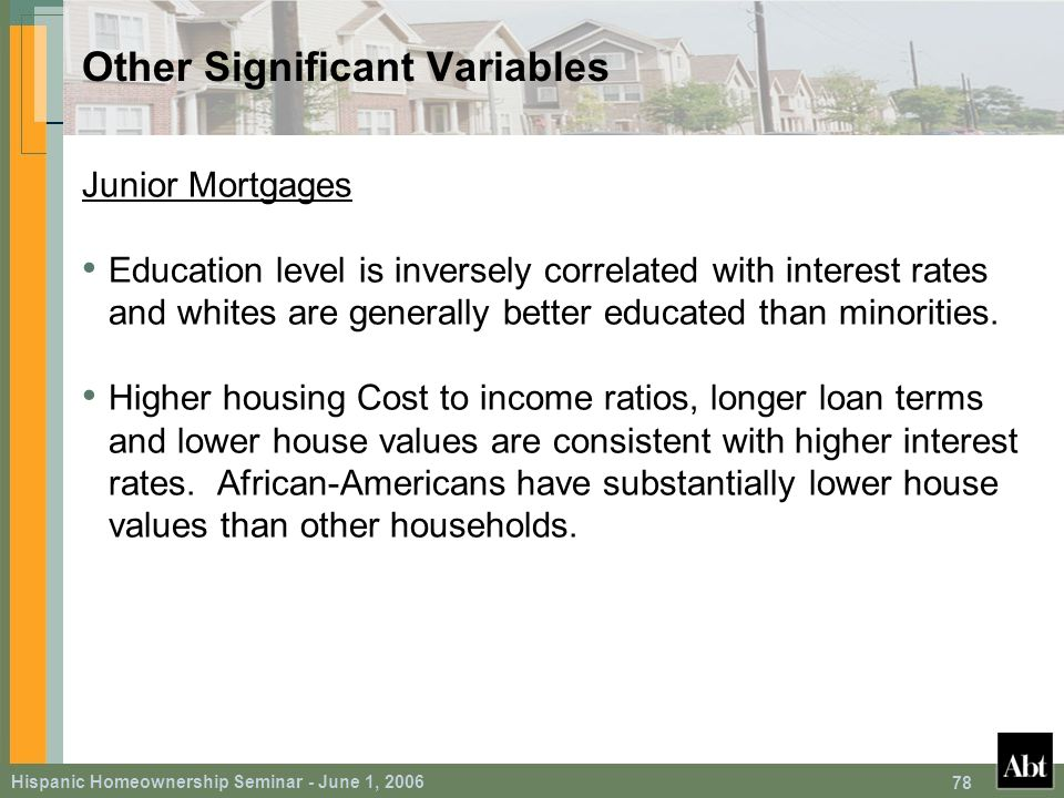 Hispanic Homeownership Seminar - June 1, 2006 78 Other Significant Variables Junior Mortgages Education level is inversely correlated with interest rates and whites are generally better educated than minorities.