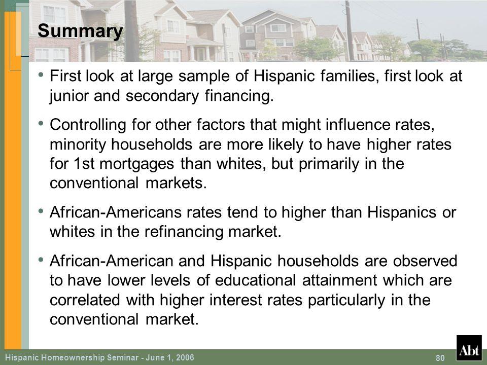Hispanic Homeownership Seminar - June 1, 2006 80 Summary First look at large sample of Hispanic families, first look at junior and secondary financing.