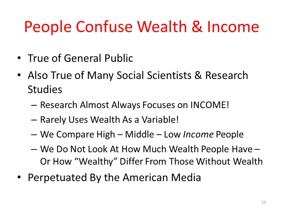 People Confuse Wealth & Income True of General Public Also True of Many Social Scientists & Research Studies – Research Almost Always Focuses on INCOME.