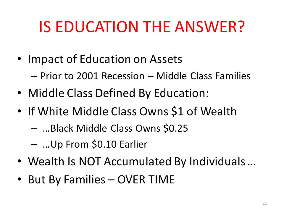 IS EDUCATION THE ANSWER? Impact of Education on Assets – Prior to 2001 Recession – Middle Class Families Middle Class Defined By Education: If White M