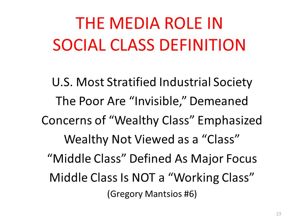 """THE MEDIA ROLE IN SOCIAL CLASS DEFINITION U.S. Most Stratified Industrial Society The Poor Are """"Invisible,"""" Demeaned Concerns of """"Wealthy Class"""" Empha"""