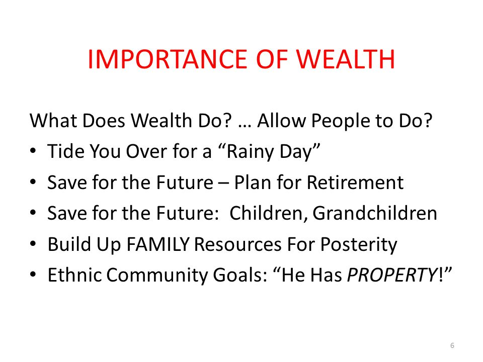 IMPORTANCE OF WEALTH What Does Wealth Do. … Allow People to Do.