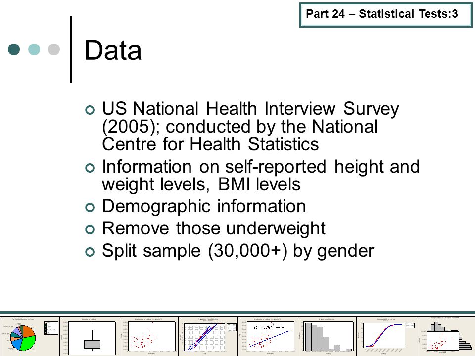 Part 24 – Statistical Tests:3 Data US National Health Interview Survey (2005); conducted by the National Centre for Health Statistics Information on s