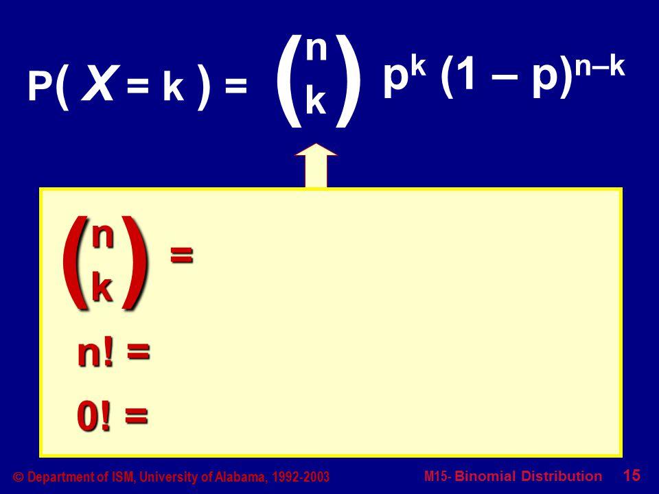M15- Binomial Distribution 15  Department of ISM, University of Alabama, 1992-2003 P ( X = k ) = ( )( ) nknk p k (1 – p) n–k ( ) nk = n.