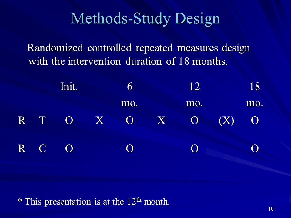 18 Methods-Study Design Randomized controlled repeated measures design with the intervention duration of 18 months.