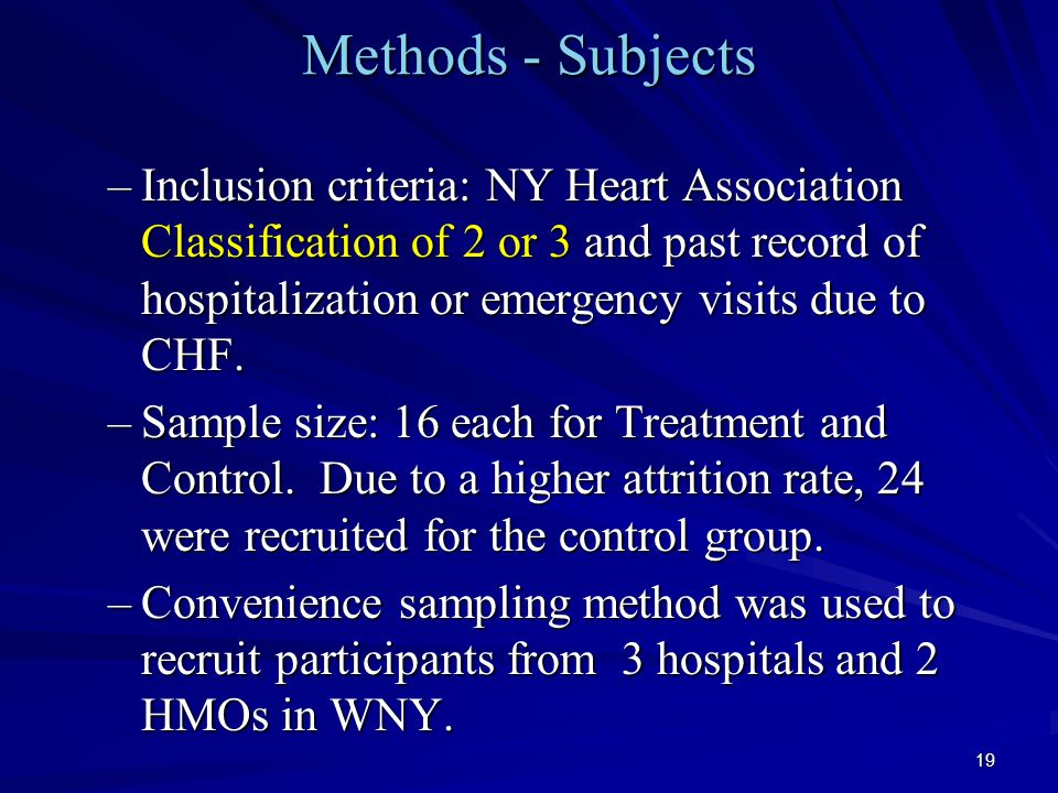19 Methods - Subjects –Inclusion criteria: NY Heart Association Classification of 2 or 3 and past record of hospitalization or emergency visits due to CHF.