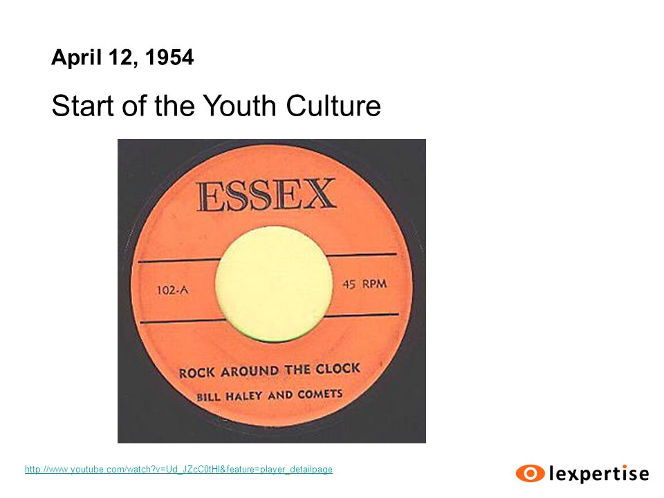 April 12, 1954 Start of the Youth Culture http://www.youtube.com/watch v=Ud_JZcC0tHI&feature=player_detailpage