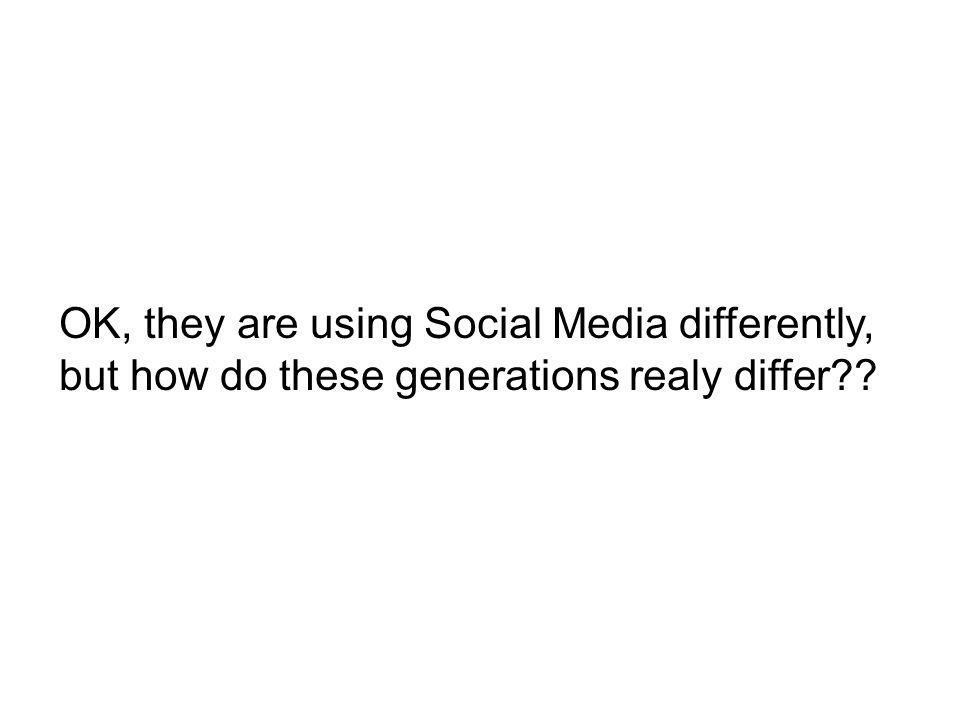 OK, they are using Social Media differently, but how do these generations realy differ