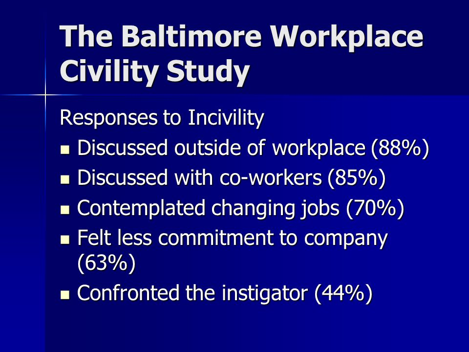 The Baltimore Workplace Civility Study Responses to Incivility Discussed outside of workplace (88%) Discussed outside of workplace (88%) Discussed with co-workers (85%) Discussed with co-workers (85%) Contemplated changing jobs (70%) Contemplated changing jobs (70%) Felt less commitment to company (63%) Felt less commitment to company (63%) Confronted the instigator (44%) Confronted the instigator (44%)