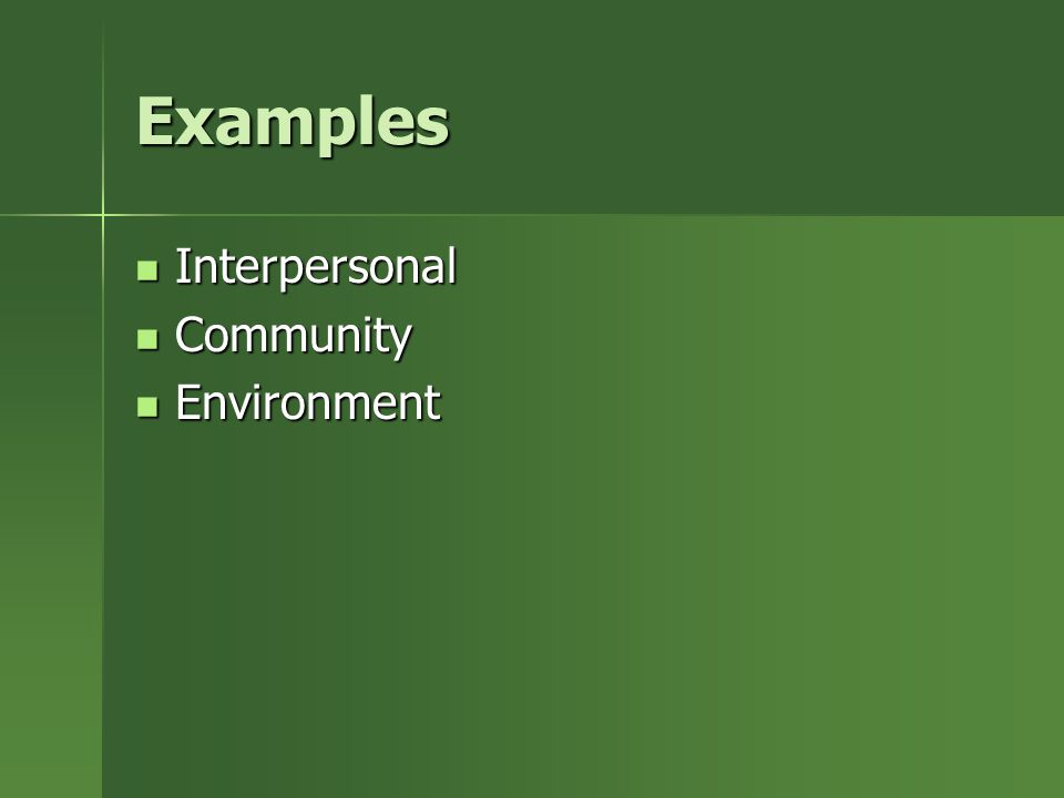 Examples Interpersonal Interpersonal Community Community Environment Environment