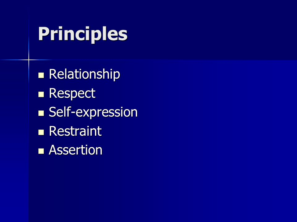 Principles Relationship Relationship Respect Respect Self-expression Self-expression Restraint Restraint Assertion Assertion