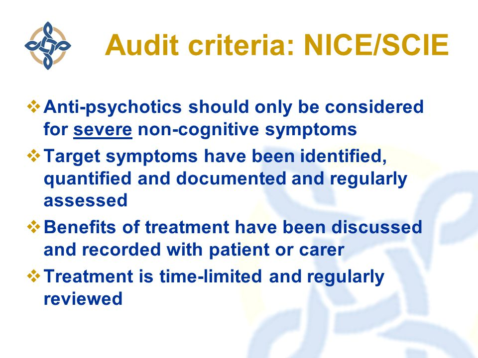 Audit criteria: NICE/SCIE  Anti-psychotics should only be considered for severe non-cognitive symptoms  Target symptoms have been identified, quantified and documented and regularly assessed  Benefits of treatment have been discussed and recorded with patient or carer  Treatment is time-limited and regularly reviewed