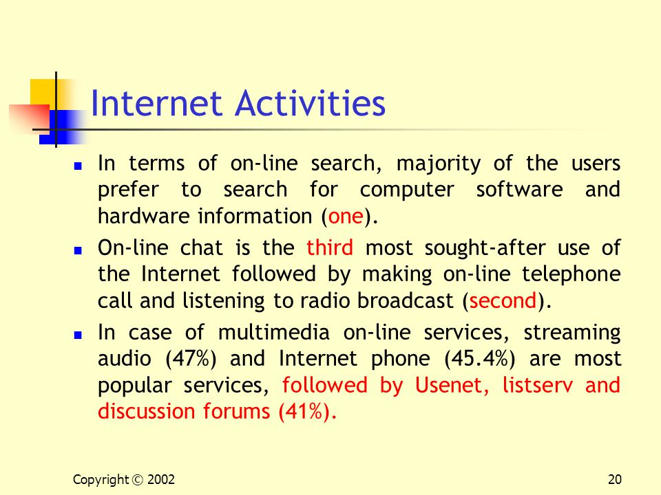 Copyright © 200220 Internet Activities In terms of on-line search, majority of the users prefer to search for computer software and hardware informati
