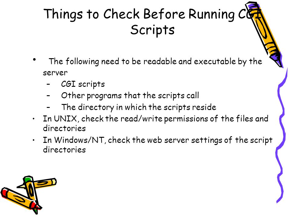 Things to Check Before Running CGI Scripts The following need to be readable and executable by the server – CGI scripts – Other programs that the scripts call – The directory in which the scripts reside In UNIX, check the read/write permissions of the files and directories In Windows/NT, check the web server settings of the script directories