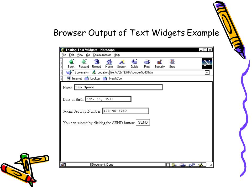 Browser Output of Text Widgets Example
