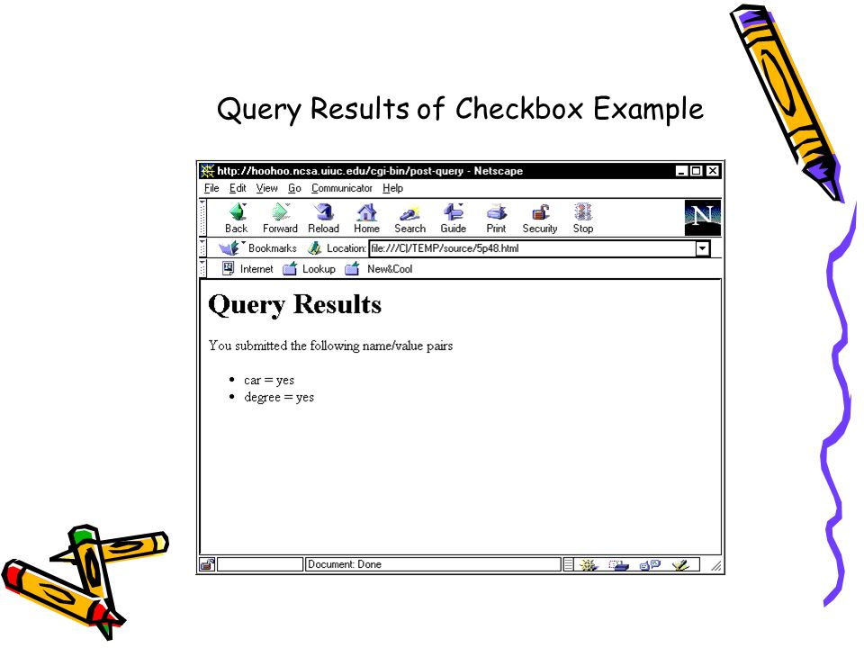 Query Results of Checkbox Example