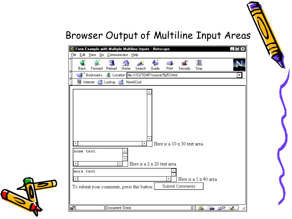 Browser Output of Multiline Input Areas
