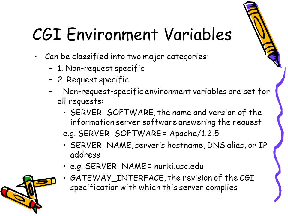 CGI Environment Variables Can be classified into two major categories: –1.
