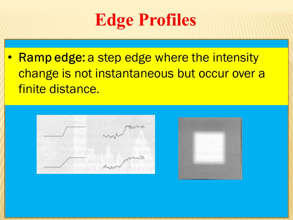 Ramp edge: a step edge where the intensity change is not instantaneous but occur over a finite distance.