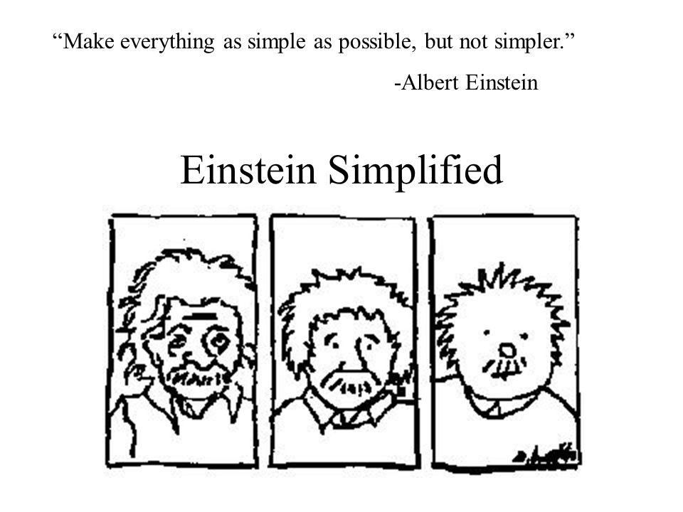"Einstein Simplified ""Make everything as simple as possible, but not simpler."" -Albert Einstein"
