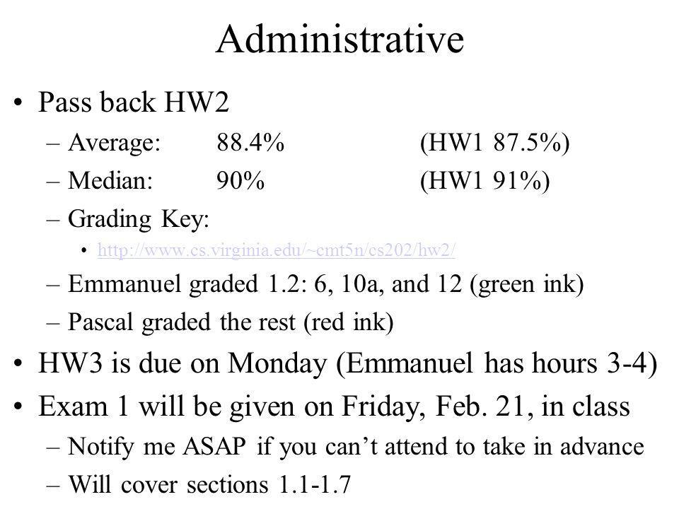 Administrative Pass back HW2 –Average:88.4%(HW1 87.5%) –Median:90%(HW1 91%) –Grading Key: http://www.cs.virginia.edu/~cmt5n/cs202/hw2/ –Emmanuel grade
