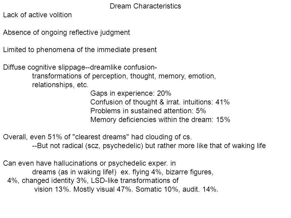 Dream Characteristics Lack of active volition Absence of ongoing reflective judgment Limited to phenomena of the immediate present Diffuse cognitive slippage--dreamlike confusion- transformations of perception, thought, memory, emotion, relationships, etc.