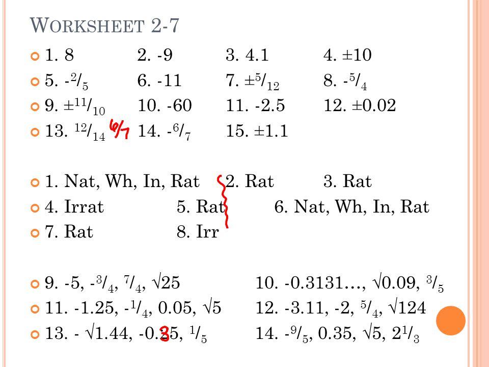 W ORKSHEET 2-7 1. 8 2. -93. 4.14. ±10 5. - 2 / 5 6.