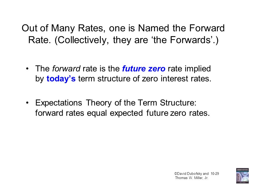 ©David Dubofsky and 10-29 Thomas W. Miller, Jr. Out of Many Rates, one is Named the Forward Rate.