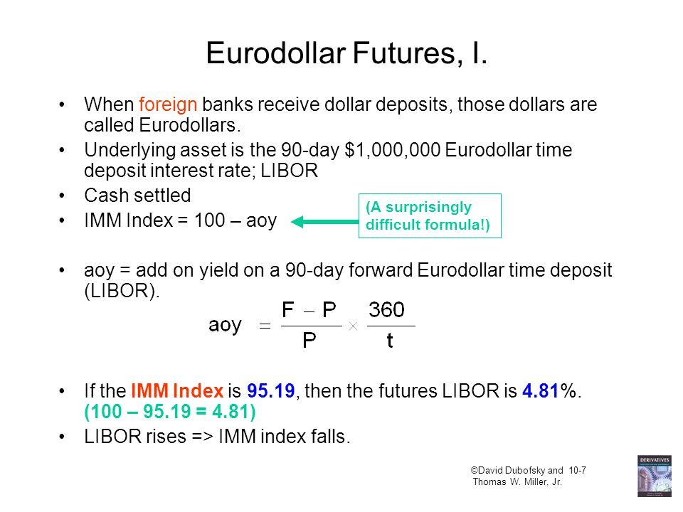 ©David Dubofsky and 10-7 Thomas W. Miller, Jr. Eurodollar Futures, I.