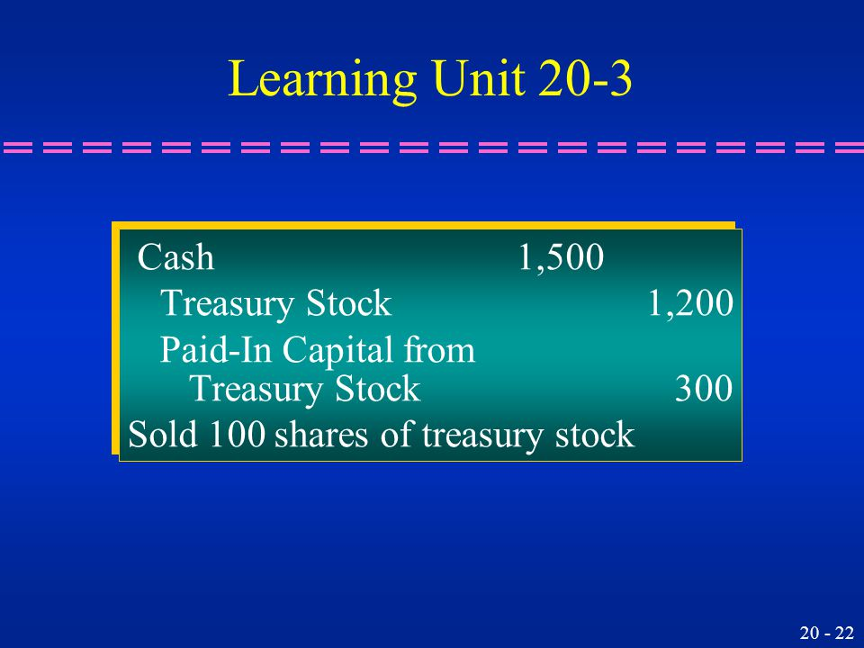 20 - 22 Cash1,500 Treasury Stock1,200 Paid-In Capital from Treasury Stock 300 Sold 100 shares of treasury stock Cash1,500 Treasury Stock1,200 Paid-In Capital from Treasury Stock 300 Sold 100 shares of treasury stock Learning Unit 20-3