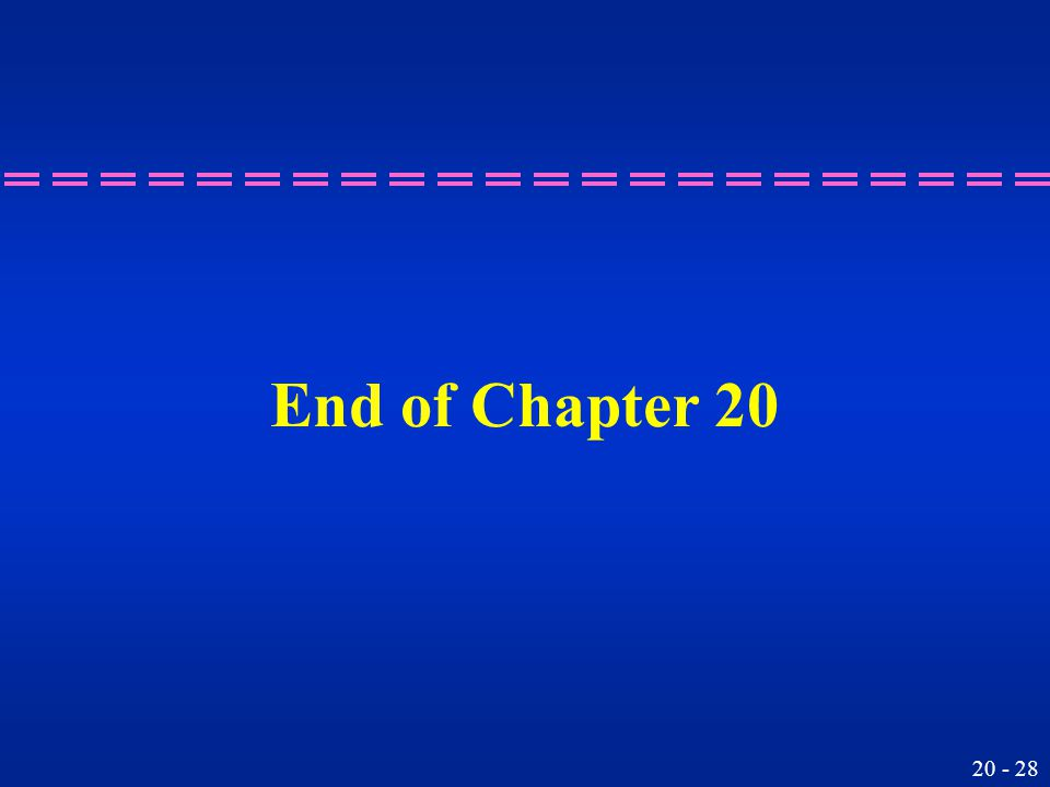 20 - 28 End of Chapter 20
