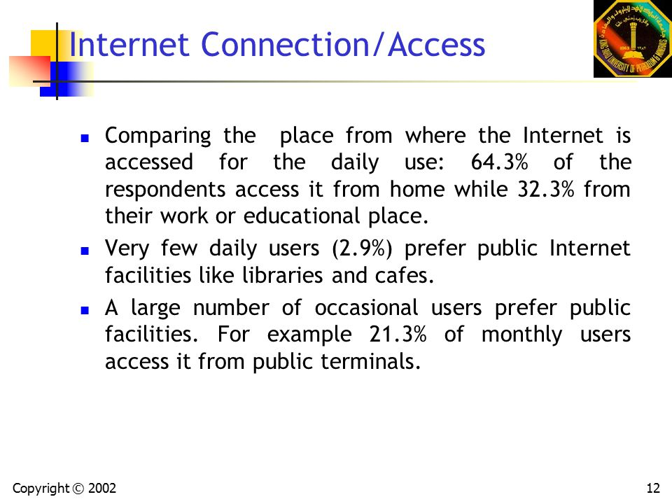 Copyright © 200212 Internet Connection/Access Comparing the place from where the Internet is accessed for the daily use: 64.3% of the respondents access it from home while 32.3% from their work or educational place.