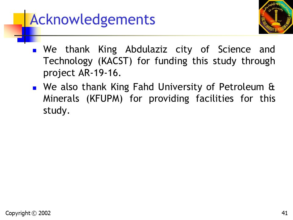 Copyright © 200241 Acknowledgements We thank King Abdulaziz city of Science and Technology (KACST) for funding this study through project AR-19-16.