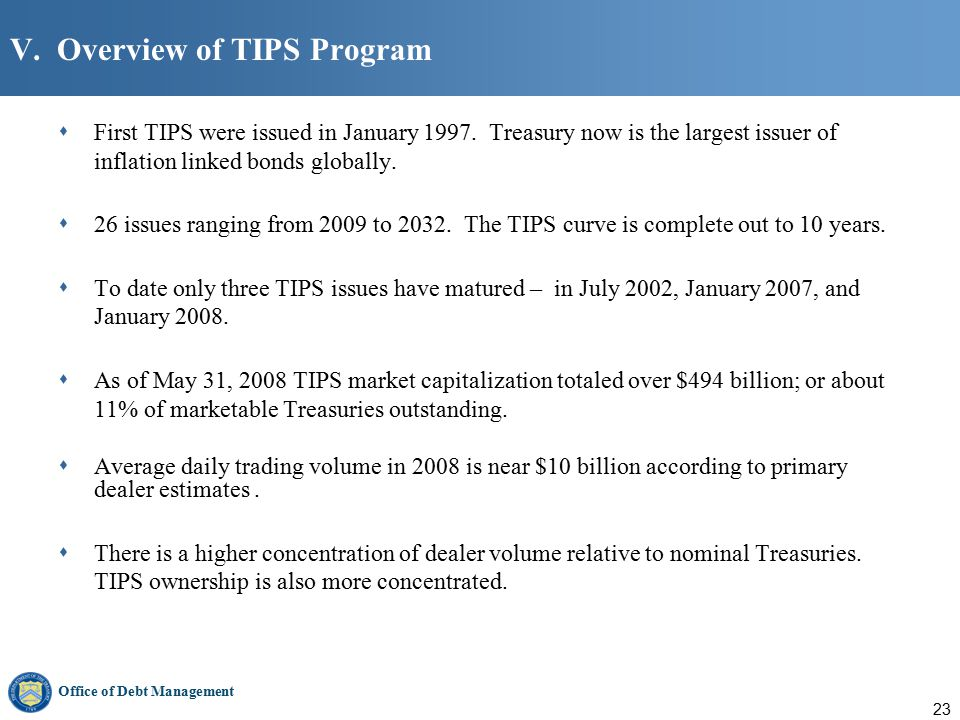 Office of Debt Management 23 V. Overview of TIPS Program  First TIPS were issued in January 1997.