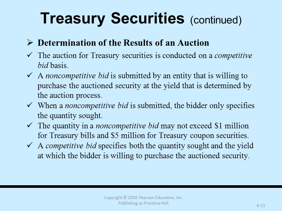 Copyright © 2010 Pearson Education, Inc. Publishing as Prentice Hall 6-11 Treasury Securities (continued)  Determination of the Results of an Auction