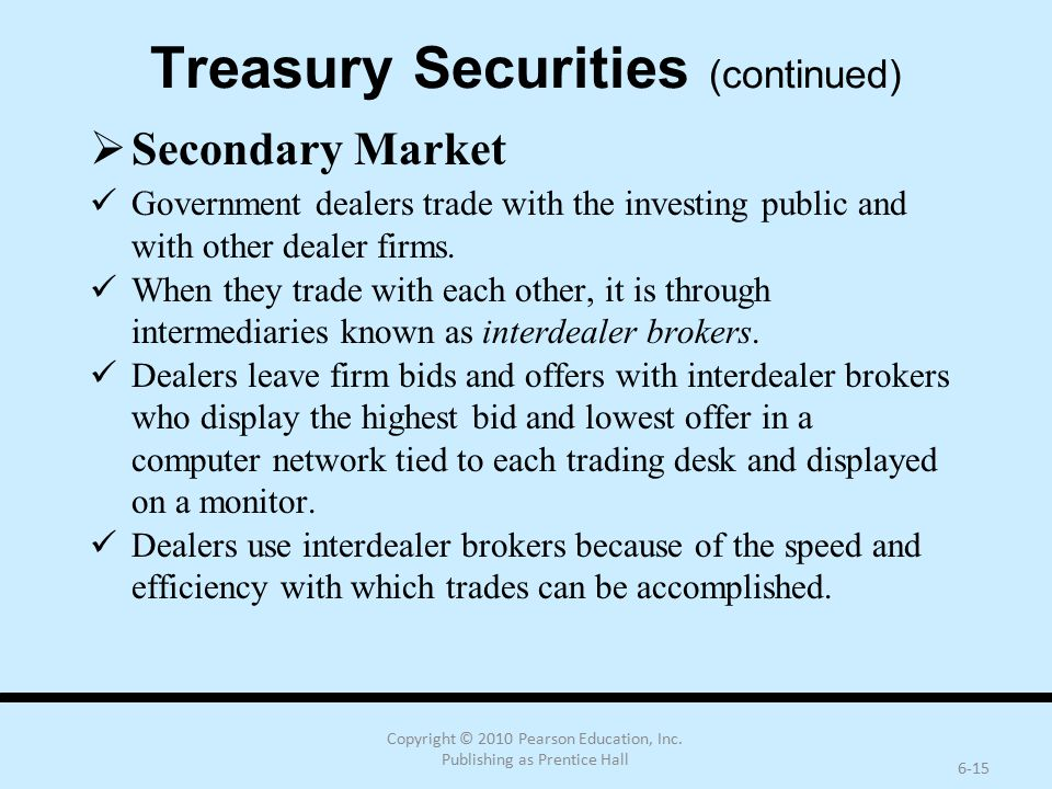Copyright © 2010 Pearson Education, Inc. Publishing as Prentice Hall 6-15 Treasury Securities (continued)  Secondary Market Government dealers trade