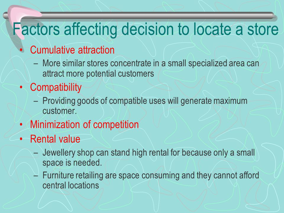 Factors affecting decision to locate a store Cumulative attraction –More similar stores concentrate in a small specialized area can attract more poten