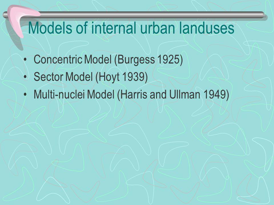 Models of internal urban landuses Concentric Model (Burgess 1925) Sector Model (Hoyt 1939) Multi-nuclei Model (Harris and Ullman 1949)