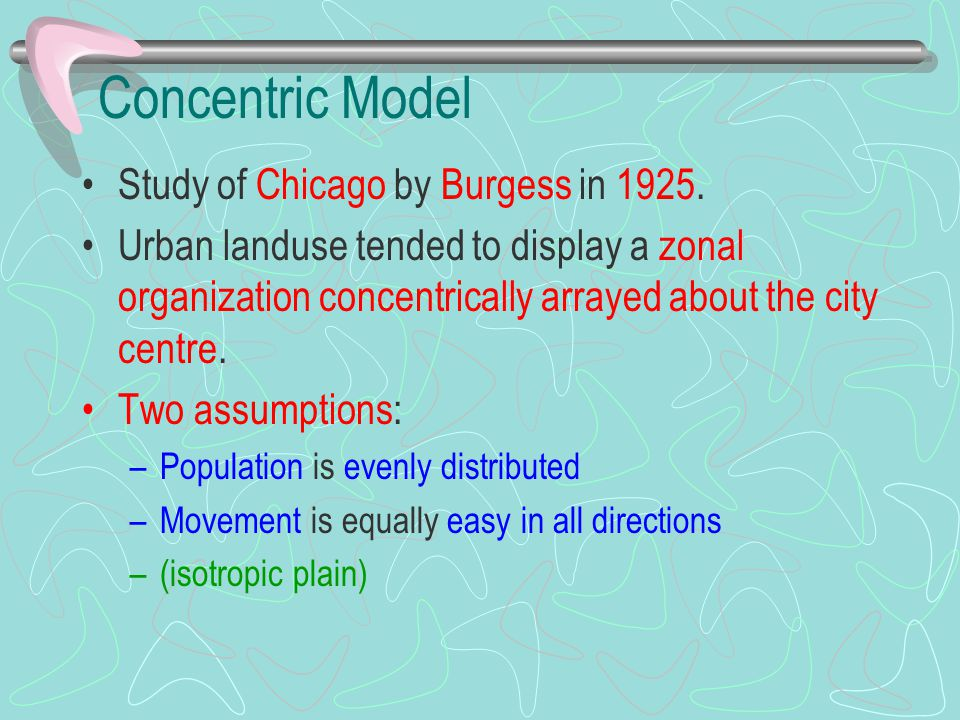 Concentric Model Study of Chicago by Burgess in 1925. Urban landuse tended to display a zonal organization concentrically arrayed about the city centr