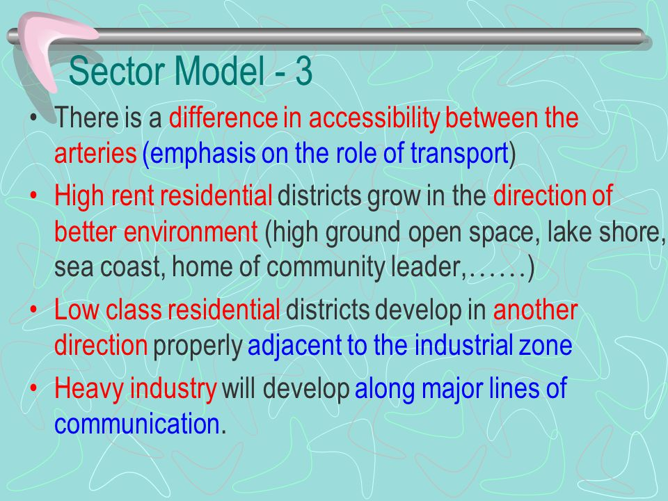 Sector Model - 3 There is a difference in accessibility between the arteries (emphasis on the role of transport) High rent residential districts grow