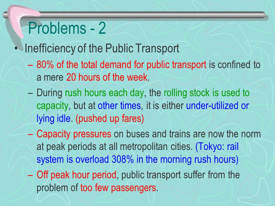 Problems - 2 Inefficiency of the Public Transport –80% of the total demand for public transport is confined to a mere 20 hours of the week. –During ru
