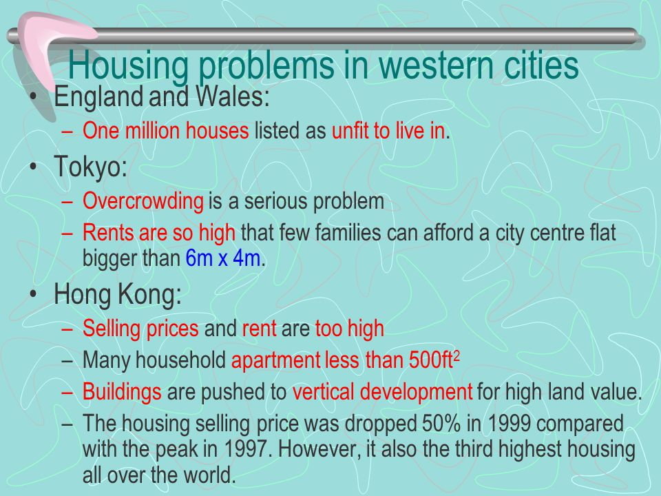 Housing problems in western cities England and Wales: –One million houses listed as unfit to live in. Tokyo: –Overcrowding is a serious problem –Rents