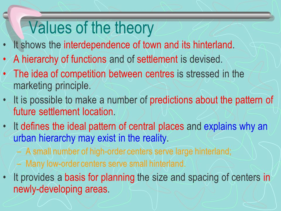 Values of the theory It shows the interdependence of town and its hinterland. A hierarchy of functions and of settlement is devised. The idea of compe