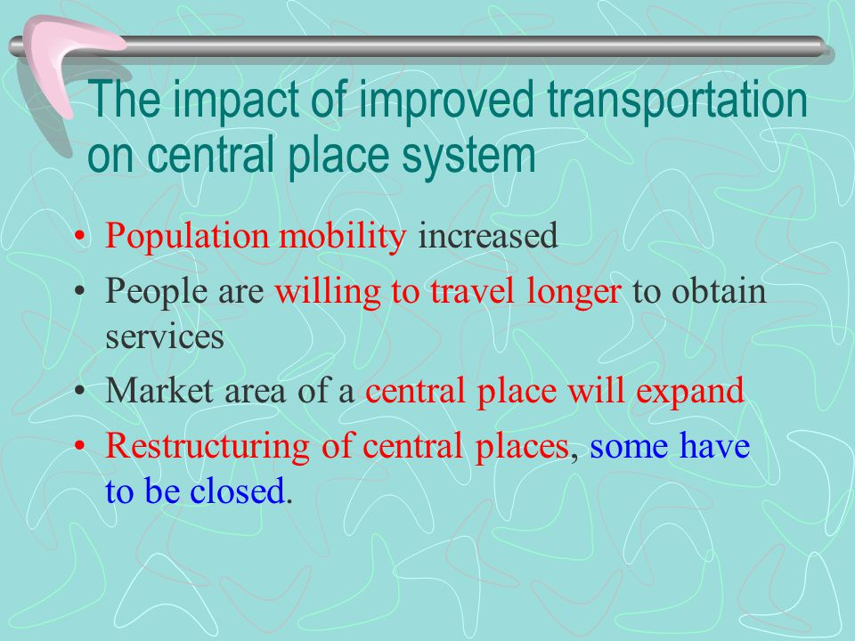 The impact of improved transportation on central place system Population mobility increased People are willing to travel longer to obtain services Mar