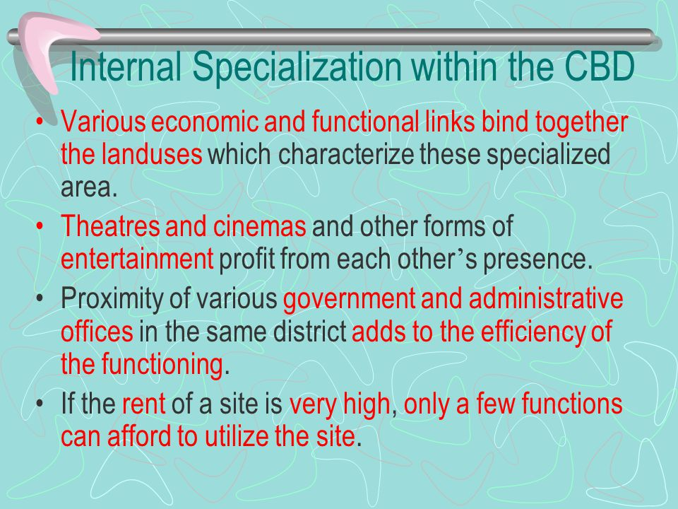 Internal Specialization within the CBD Various economic and functional links bind together the landuses which characterize these specialized area. The