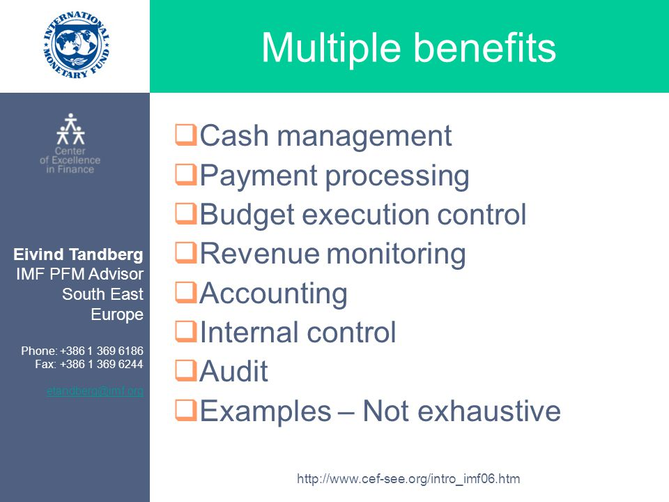 Eivind Tandberg IMF PFM Advisor South East Europe Phone: +386 1 369 6186 Fax: +386 1 369 6244 etandberg@imf.org http://www.cef-see.org/intro_imf06.htm Multiple benefits  Cash management  Payment processing  Budget execution control  Revenue monitoring  Accounting  Internal control  Audit  Examples – Not exhaustive