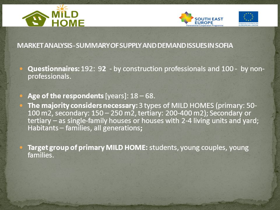 Questionnaires: 192: 92 - by construction professionals and 100 - by non- professionals.