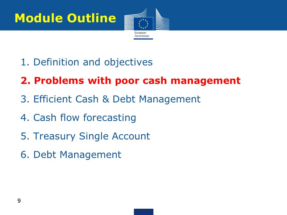 1. Definition and objectives 2. Problems with poor cash management 3.